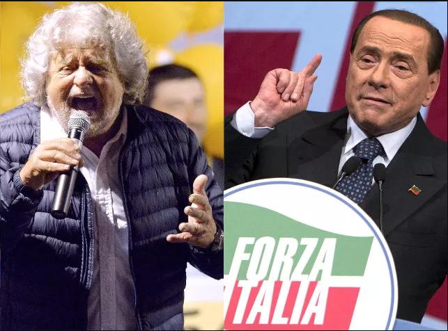Berlusconi Beppe Grillo alleanza M5s Forza Italia