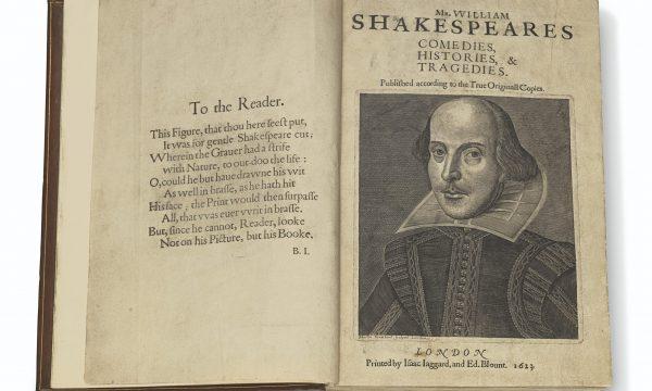 Christie's: First Folio di Shakespeare record da 10 mln di dollari