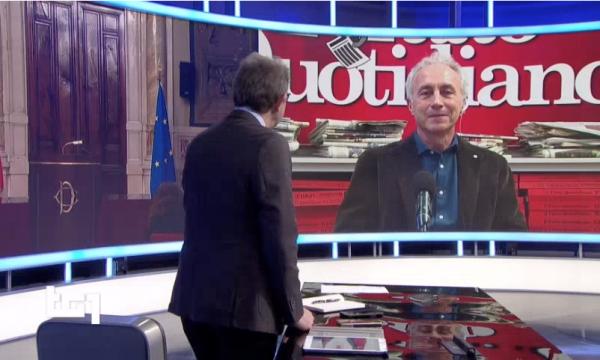 """Rai1. Giorgino ironizza su Travaglio. """"Deluso per l'incarico a Mario Draghi?"""""""