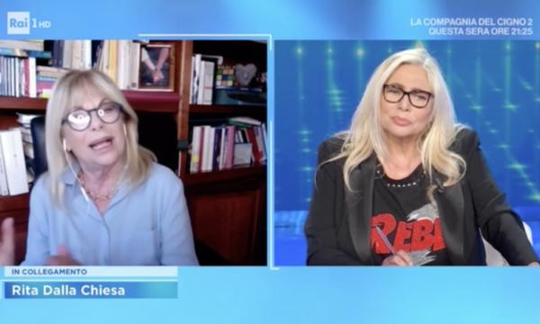 """Domenica In. """"Rita Dalla Chiesa teme AstraZeneca e può scegliersi il vaccino?"""" La rete insorge"""