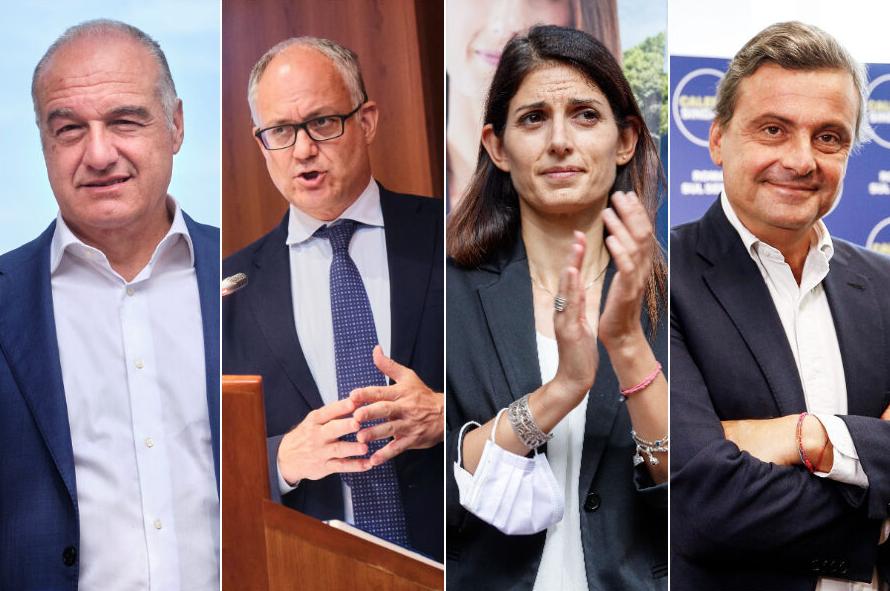 Enrico Michetti Virginia Raggi Roberto Gualtieri Carlo Calenda elezioni Roma par condicio