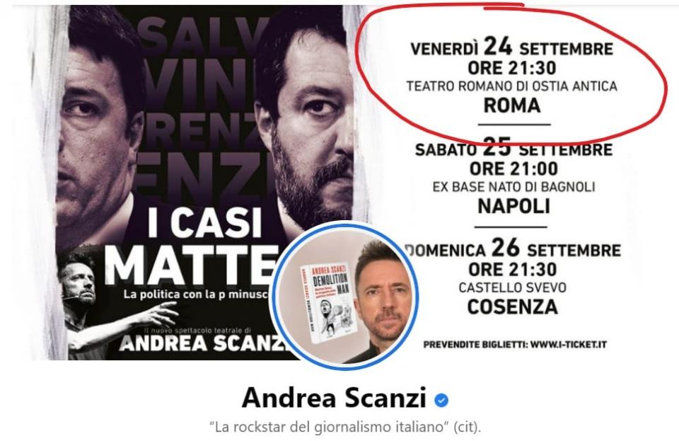 Scanzi spettacoli politici Anzaldi Roma elezioni comunali i casi Matteo Ostia Antica Bagnoli Cosenza